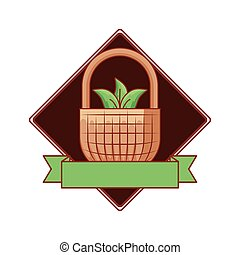 basket wicker with leafs natural and ribbon