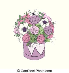Basket with a bouquet of bright flowers in basket isolated.
