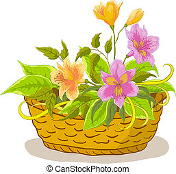 Basket with alstroemeria