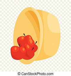 Basket with apples icon, cartoon style