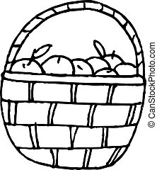 basket with apples icon. hand drawn in simple liner scandinavian style. Thanksgiving