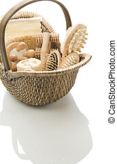 basket with bath accessories isolated