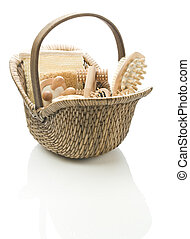 basket with bath accessories