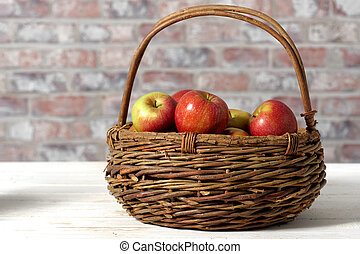 Basket with beautiful apples