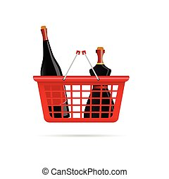 basket with bottle of wine color vector