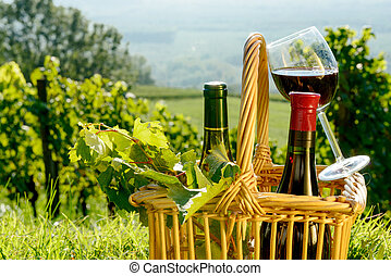Basket with bottles and glass of red wine in the vineyards