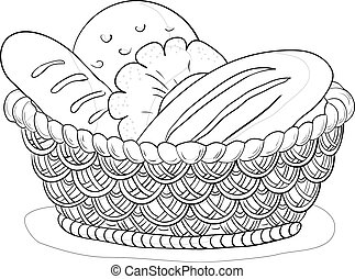 Basket with bread, contour - Vector, food: bread, loafs and...
