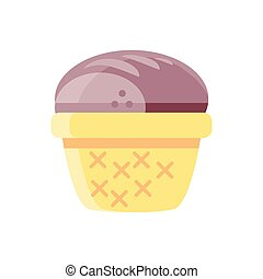 basket with bread icon, colorful and flat style design