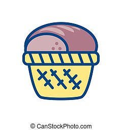 basket with bread icon, colorful and line style design