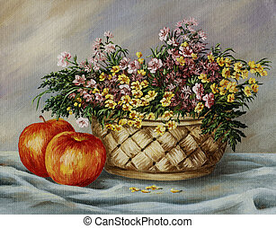 Picture oil paints on a canvas: wattled basket with buttercups and red apples