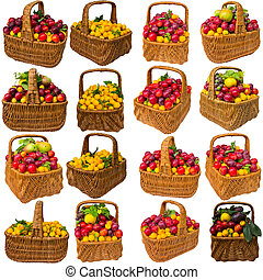 Basket with cherry plum and plums.