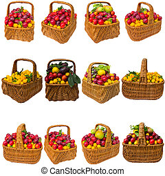 Basket with cherry plum isolated on a white background.