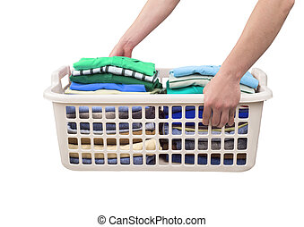 Basket with clean clothes on a white background.