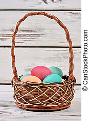 Basket with colorful Easter eggs.