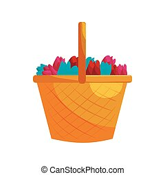 Basket with colorful tulips icon, cartoon style