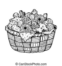 Basket with cookies engraving vector illustration