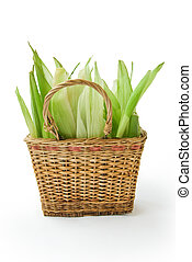 Basket with corn leaves