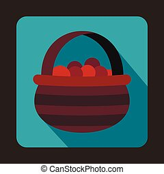 Basket with cranberries icon, flat style