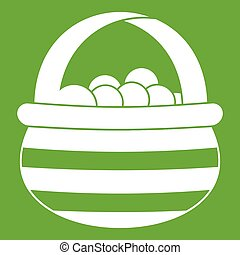 Basket with cranberries icon green