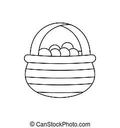 Basket with cranberries icon, outline style