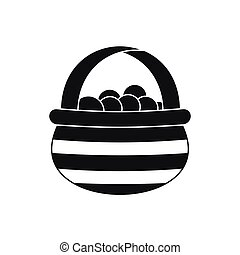 Basket with cranberries icon, simple style