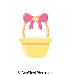 basket with decorative bow, flat style icon