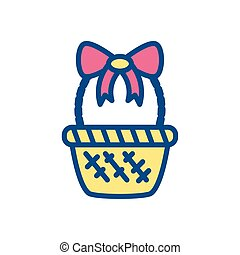 basket with decorative bow, line style icon