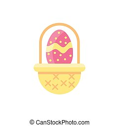 basket with easter egg ,flat style icon