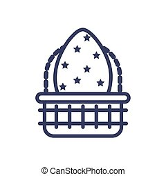 basket with easter egg, line style icon