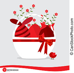 Basket with easter eggs and flower. Vector illustration.