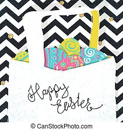 Basket with Easter eggs. Chevron lines and golden dots background. Easter postcard.