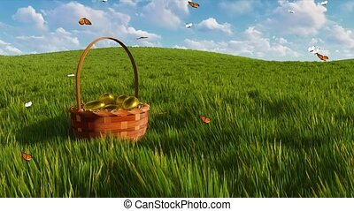 Basket with easter eggs on grass and butterflies