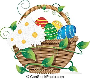 Basket with Easter eggs - Wicker basket with Easter eggs and...