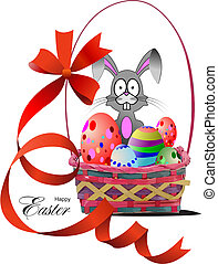 Basket with Easter eggs. Vector illustration