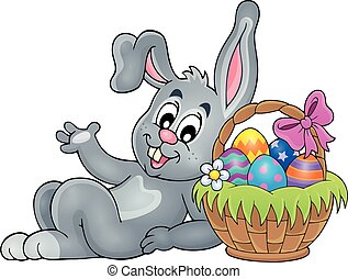 Basket with eggs and Easter bunny 2 - Basket with eggs and ...