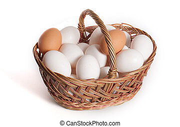 basket with eggs in it isolated on white background