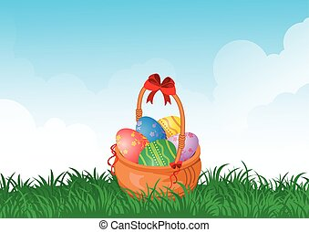 basket with eggs on the field