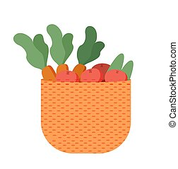 Basket with Farmer Products Isolated Carrot Potato - Basket...