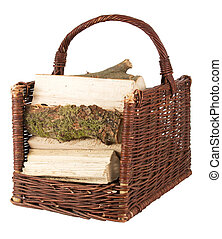 Basket with firewood isolated on a white background
