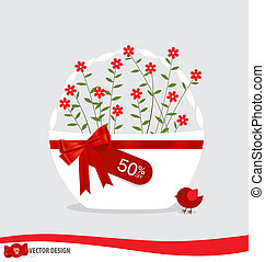 Basket with flowers and sale tags. Vector illustration.