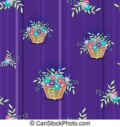 Basket with flowers blue