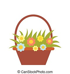 Basket with flowers flat icon