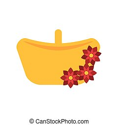 basket with flowers flat style icon