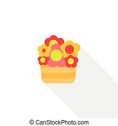 Basket with flowers icon, flat style