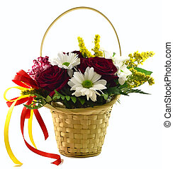 basket with flowers on a white background