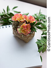 basket with flowers on a white background,space for text