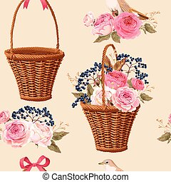 Basket with flowers seamless