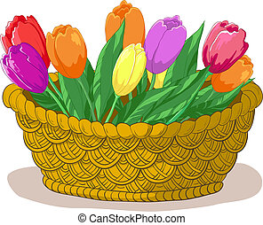 Basket with flowers tulips