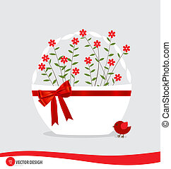 Basket with flowers. Vector illustration.