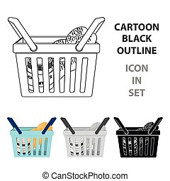 Basket with food. E-commerce single icon in cartoon style vector symbol stock illustration web.